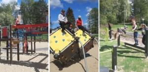Kuvassa oppilaat ovat uudessa aktiviteettipuistossa